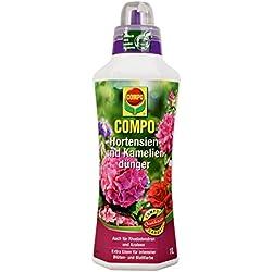 COMPO Hortensien- und Kameliendünger für alle Morbeetpflanzen im Haus, auf Balkon und Terrasse sowie im Garten, Spezial-Flüssigdünger mit extra Eisen, 1 Liter