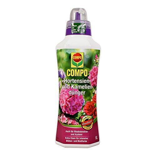 COMPO Hortensien- und Kameliendünger für alle Morbeetpflanzen im Haus, auf Balkon und Terrasse sowie im Garten, Spezial-Flüssigdünger mit extra Eisen, 1 Liter (20 20 20-dünger Flüssig)