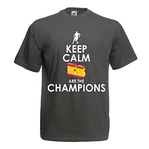 Maglietta da uomo gli spagnoli sono i campioni, il campionato di russia il 2018, la coppa mondiale - la squadra di calcio di camicia di ammiratore della spagna (xxx-large grafite multicolore)