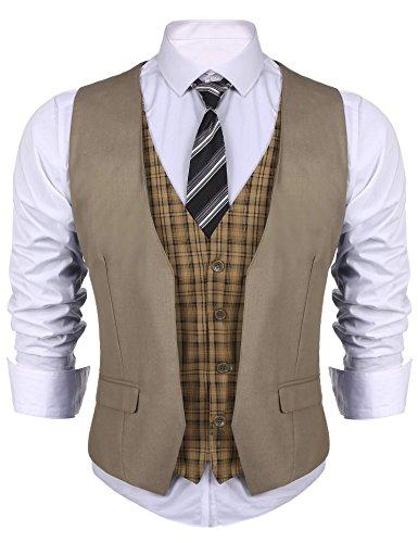 n Anzug V-Ausschnit Vintage Geschäftsweste Anzugweste Slim fit Anzug Ohne Arm Khaki EU 44, XXL (Herren Weste Western)