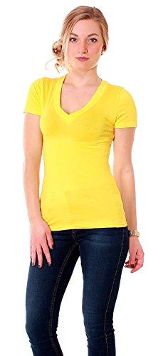 Easy Young Fashion Damen Jersey Shirt Kurzarm T-Shirt figurbetont mit V Ausschnitt uni Gelb
