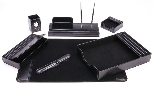 Majestic Goods Leather Desk Set, 7 Piece, Black (105 DSG7K). By Majestic  Goods Office Supply