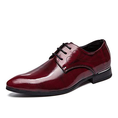 YU Scarpe da lavoro da uomo Spring Fall Comfort Oxfords Scarpe formali in pelle con punta a punta Abito da sera party serale,Red,39