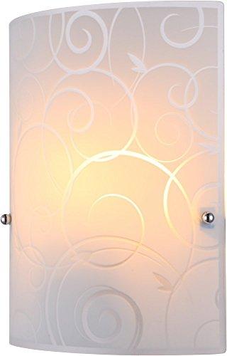 Praktische Wandleuchte Metall weiß Glas opal satiniert mit Ornamentik Globo MAVERICK 40491-1W - Maverick Glas