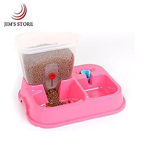 Distributeur d'aliments pour animaux de compagnie et distributeur d'eau, JIM'S STORE 2 en 1 Automatique Plat de nourriture pour animaux de compagnie Bol d'eau potable pour Chien et chat (Rose)