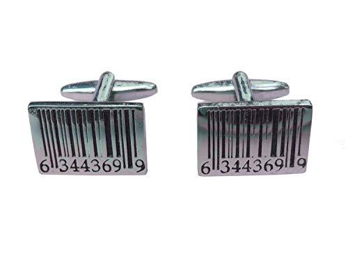 Strichcode Manschettenknöpfe Miniblings Knöpfe + Box Barcode Code Scanner silber