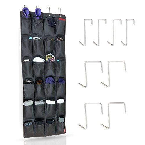 MDCASA Organizer Tür mit Universal Türhaken Set - Schuhaufbewahrung Hängend - Schuhregal Tür - Bad Hängeorganizer - Schuhorganizer - Schwarz - 158x54cm (Bad-organizer-set)