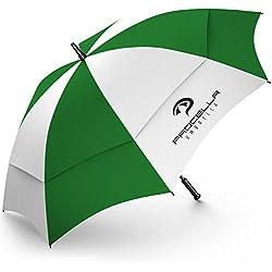 Procella - Paraguas para Golf, Resistente al Viento, Extra Grande 157 cm / 62 Inch, Apertura Automática, Doble Cubierta Para Resistencia Óptima contra el Viento y la Lluvia, Paragua Antiviento, Verde Blanco