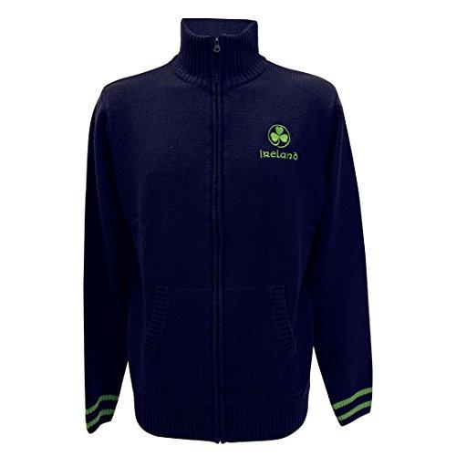 Irland-Pullover mit mittelhohem Kragen und Reißverschluss und mit aufgesticktem, grünem Kleeblatt, marineblau (Irland-flag Sweatshirt)