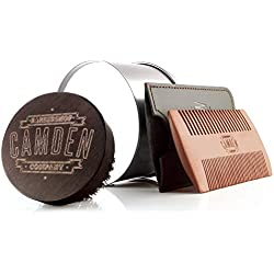 Cepillo y peine para barba ● Set de Camden Barbershop Company ● para el aseo diario de la barba ● para la aplicación de aceite para barba ●