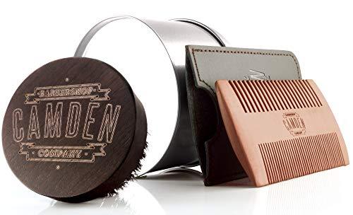 Kit Peigne & Brosse à barbe «ORIGINAL» de Camden Barbershop Company ● En Bois de Noyer & Poirier ● Pour l'Entretien et le Soin de Barbe ● Kit de Voyage