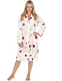 Forever Dreaming Ladies Waffle Fleece Dressing Gown - Luxury Heart Print  Robe e5dffe0ab