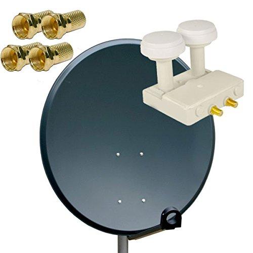 PremiumX Antenne 80cm Stahl , Digitale Sat Anlage Schüssel Spiegel in Anthrazit + Twin Monoblock 01,dB FULLHD HDTV + 4x F-Stecker Vergoldet Astra und Hotbird FULLHD Komplett Anlage