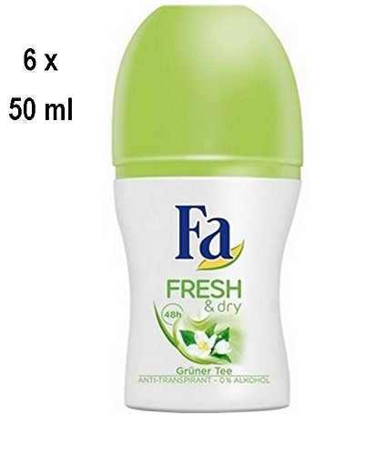 """6 x Fa Deo Roll-on für Frauen """"Fresh & Dry Green Tea"""" - 50 ml"""
