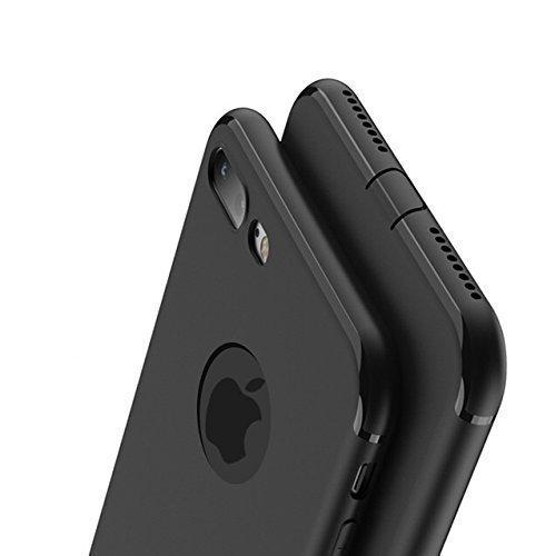 IRunningSystem Schwarz Matte für iPhone 7 kompatible Silikonhülle (4,7 Zoll) mit integriertem Staubschutz Ultra-Slim (0,5mm Dicke) (1. Schwarz)