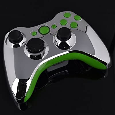 Xbox 360 Wireless Controller - Chrome with Green Buttons