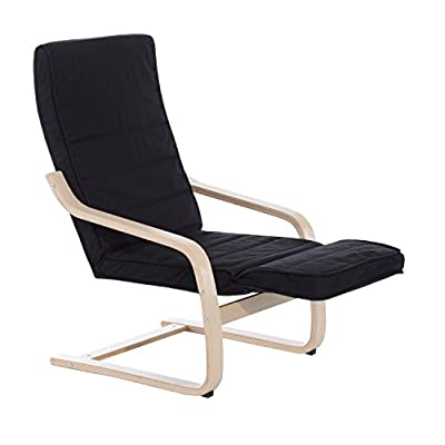 HOMCOM Wooden Lounging Rocker Deck Rocking Chair Relaxing Recliner Lounge Seat w/ Adjustable Footrest & Removable Cushion produced by Sold by MHSTAR - quick delivery from UK