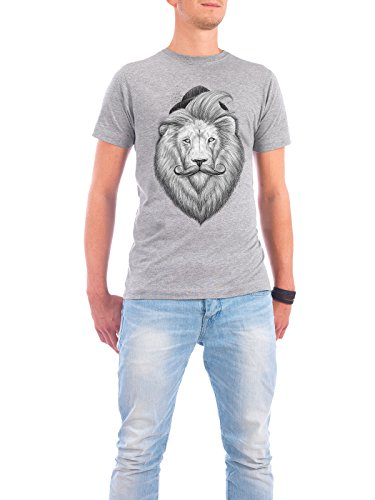 "Design T-Shirt Männer Continental Cotton ""bearded lion"" - stylisches Shirt Tiere Natur Fashion von Nikita Korenkov Grau"
