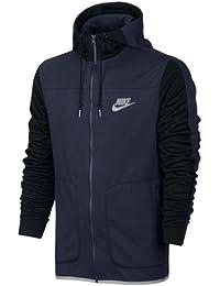 Nike M Nsw Av15 Hoodie Fz Flc Sudadera, Hombre, Azul (Obsidian/Black/Wolf Grey), XL