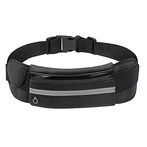 BaojunHT® Sport-Bauchtasche, Stretch-Gürtel mit Handyfach und Kopfhörerloch Schwarz Schwarz Free Size -