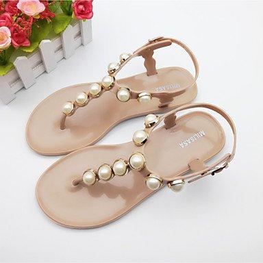 RUGAI-UE Sommer Mode Frauen Sandalen Schuhe Casual PU Komfort Fersen, Silber, Us5.5/EU36/UK3.5/CN 35 Almond