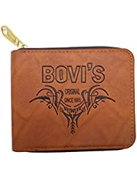 Bagzar Bovi's Men's Wallet Premium Stylish PU Leather Round Gold Zipper Brown Men Wallet (Light Brown Oll)