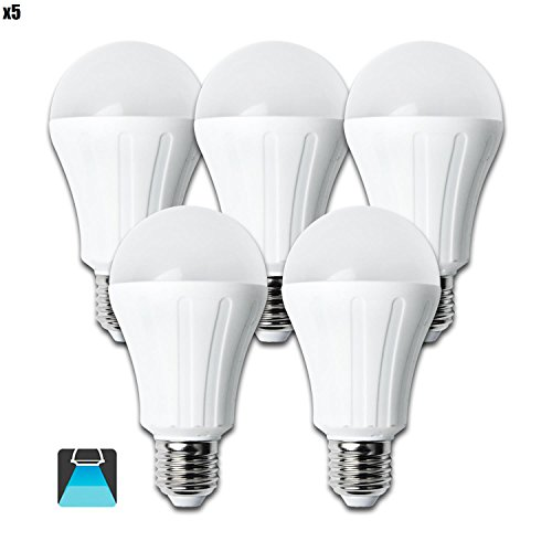 Aigostar   Pack de 5 Bombillas LED A60 15W, casquillo gordo E27, 1200 Lumen, luz blanca 6400K [Clase de eficiencia energética A+]
