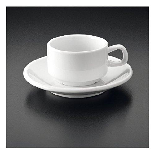 Kaffeetassen + Untertassen 120 Ml Weiss Porzellan - 12 Un.