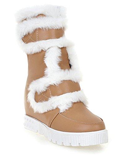 YE Damen Wedges Plateau High Heels Stiefel mit Fell Keilabsatz Winter Warm Gefüttert Schneestiefel Apricot