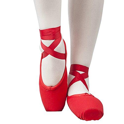 E Support™ Frauen-Ballett-Tanz Toe Schuhe Professionelle Damen Kinder Satin Pointe Schuhe Spitzenschuhe für Anfänger(Bitte wählen Sie eine Größe gemäß Artikelbeschreibung)