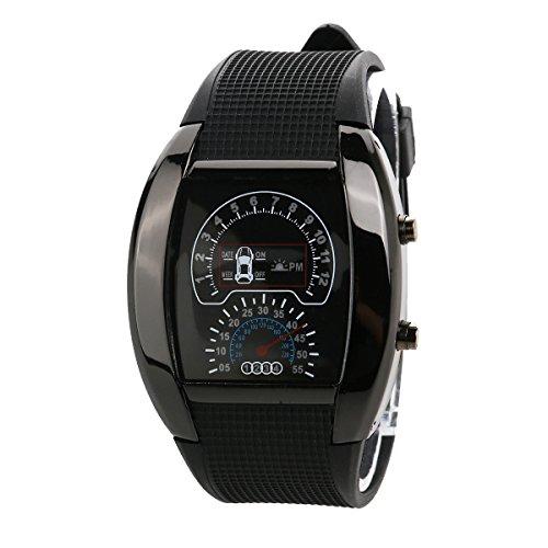 Pixnor Cool Auto Dashboard Design Dial wasserdichte Unisex blau Licht LED Sport Armbanduhr mit Datum/Woche (schwarz) - Exotische Augen