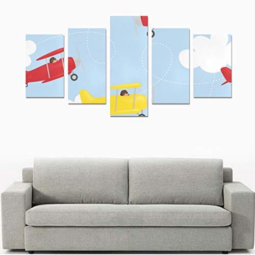 Leinwanddruck-Sets Wandkunst Bild 5 Stück Gemälde Poster Drucke Foto Bild Auf Leinwand Fertig Zum Aufhängen Für Wohnzimmer Schlafzimmer Home Office Wanddekor (kein Rahmen) Verschiedene Flugzeuge In D
