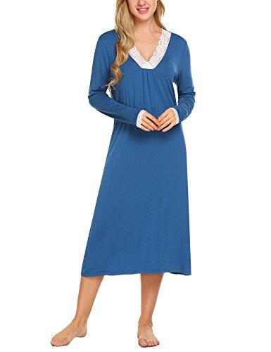 HOTOUCH Nachtwäsche Damen Nachthemd Schlafshirt Langarm Lace Trim Nightdress Baumwolle Kobaltblau L (Sleepshirt Blau Lace Trim)