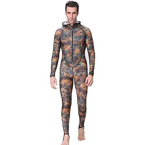 GRDRP Men Camo Neoprenanzug, einteiliges Speerfischen Tauchen mit Kapuze Men Diving-Kostüm, zum Tauchen, Schwimmen, Surfen, für alle Arten von Wassersport,M
