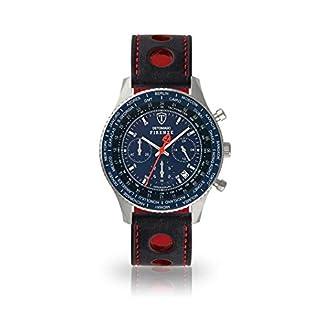 DETOMASO Firenze Reloj Caballero Cronógrafo Analógico Cuarzo Negro Racing Correa de Cuero Esfera Azul SL1624C-BL-836