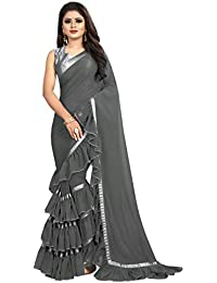 2f1f2a34a8a46c MMW Women s Georgette Ruffle Saree With Blouse Piece (Free Size)