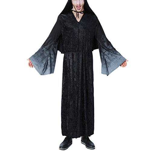 eid Adults Mens Halloween Christmas Cosplay Costume Black Robe Fancy Party Dress Costume Outfit (Teen Hai Kostümen)