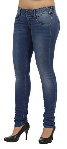 Met sui tubi/Skinny jeans X-Angel J858 Blue Jersey Effetto Denim blu W32