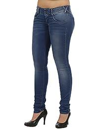 Met de cadera skinny jeans/vaqueros tubo x-Angel J858 Denim Blue Jersey Effetto