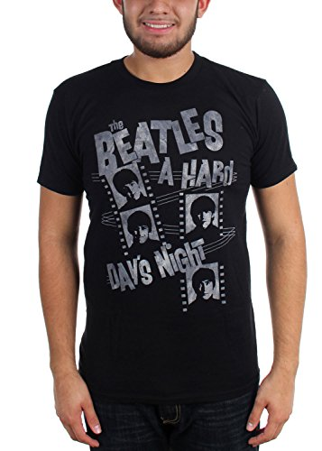 The Beatles - Herren Hard Day & Night Film-Streifen-T-Shirt Black
