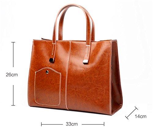 Diagonal Große Paket Wachs Schulter XinMaoYuan Öl Einfach Leder Tüte Atmosphäre Handtasche Damen Braun HvwaYd
