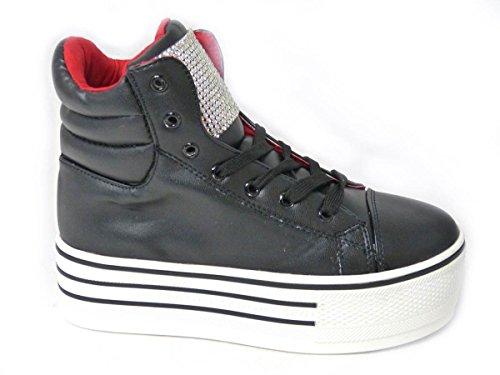 Sko's Baskets hautes à lacets et talons compensés pour femme Plusieurs designs Taille 363738394041 Black (cm1006)