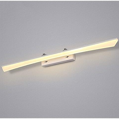 Atmosferica specchio del bagno della luce anteriore antiappannamento Dressing impermeabile Tavolo moderno minimalista Comodino igienici Lighting ( colore : Bianco caldo-12w60cm )