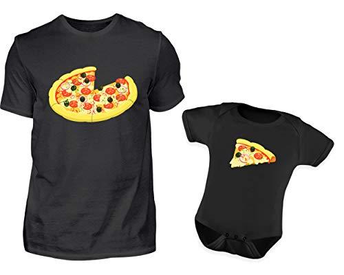 Vater Baby Partnerlook Pizza Tshirt Baby Body Strampler Outfit Set Rundhals Papa Sohn Partner Look Für Herren Und Jungs (XXL & 12-18 Monate)