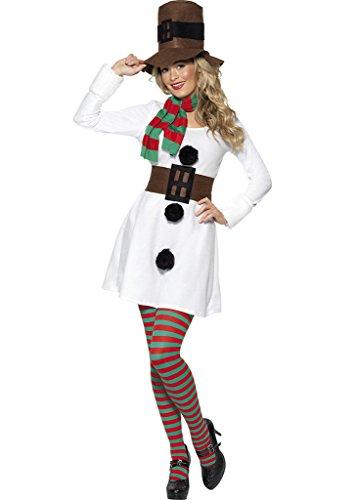Smile YKK Weihnachten Damen Schneemann Kostüm Cosplay Kostüm Minikleid,Mütze+Schal+Kleid+Gürtel Weiss
