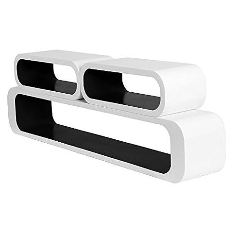 Atnom Floating Wall Shelf White Floating Shelves Storage Lounge Cube mounted Display (White-Black)