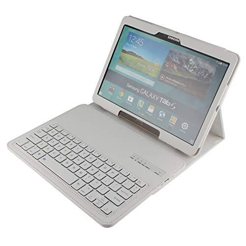 Samsung Galaxy Tab S 10.5 Leder-Tastatur-Schutzhülle, Galaxy Tab S 10,5 Zoll (26,7 cm), PU-Leder, kabellose Bluetooth-Tastatur für Samsung Galaxy Tab S 10,5 [SM-T800/T805], weiß (Tab S-tastatur-weiß Galaxy)