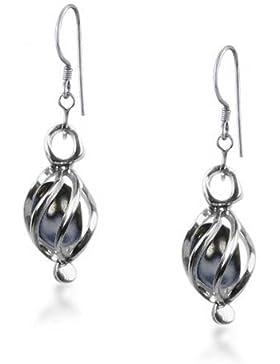 Bling Jewelry Dangle Schwarz Süßwasser-Zuchtperlen Ohrringe Sterling Käfig
