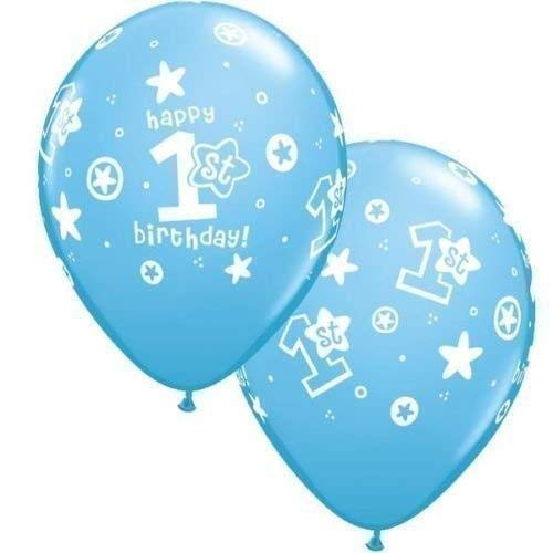 1 an/1er Anniversaire Garçon Cercle étoiles Bleu Clair 27.9cm Qualatex Latex Ballons x 10