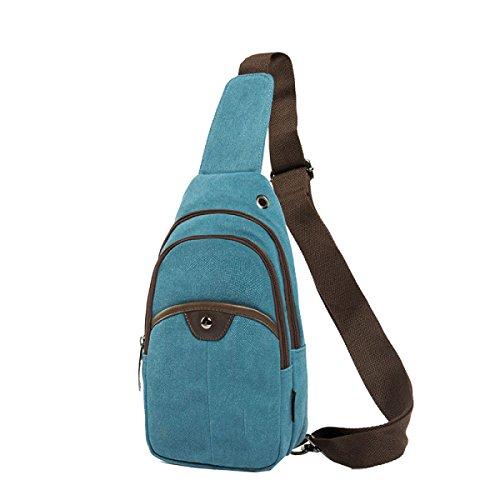 Yy.f Neue Herren-Brust-Pack College-Stil Art Und Weise Beiläufige Kurierbeutel Mannbeutel Schulterbeutel Ein Paar Taschen Multicolor Blue